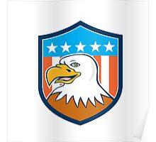 American Bald Eagle Head Smiling Flag Cartoon Poster