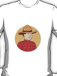 Mounted Police Officer Bust Circle Cartoon T-Shirt