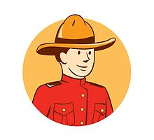 Mounted Police Officer Bust Circle Cartoon by patrimonio