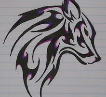 Tribal Wolf by AyyeeeItsHalle