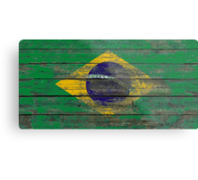 Flag of Brazil on Rough Wood Boards Effect Metal Print