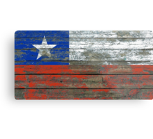 Flag of Chile on Rough Wood Boards Effect Metal Print