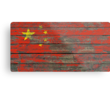 Flag of China on Rough Wood Boards Effect Metal Print