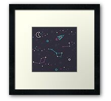 Let's discover the Universe! Adventure time doodle space image.  Framed Print