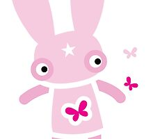 Pink rabbit Friday flutter-byes by jazzydevil