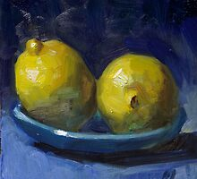 Lemons on Blue Plate by Les Castellanos