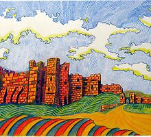 238 - BAMBURGH CASTLE - DAVE EDWARDS - COLOURED PENCILS - 2008 by BLYTHART