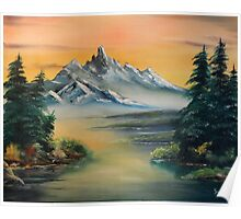 Majestic Mountains at Sunset Poster