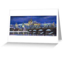 The Prague Panorama Charles Bridge Prague Castle Greeting Card