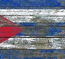 Flag of Cuba on Rough Wood Boards Effect by Jeff Bartels