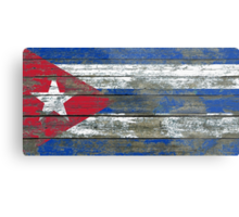 Flag of Cuba on Rough Wood Boards Effect Metal Print