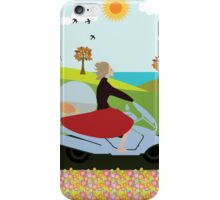 A woman riding a motorcycle iPhone Case/Skin