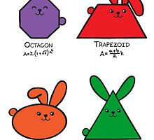 4 GeoBunnies, Octagon, Trapezoid, Ellipse, Equilateral Triangle by 2redheadedbros