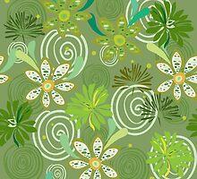 Seamless swirly green floral pattern by sullivanthedog