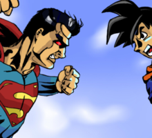 Goku vs. Superman in Color Sticker