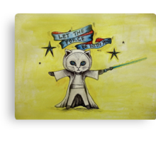 the force star kitty lightsaber  Canvas Print