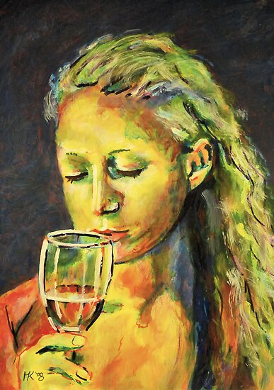 First sip of wine. by Martin Kirkwood