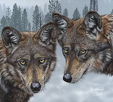 Mexican Gray Wolves by artbyakiko