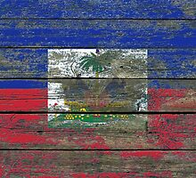 Flag of Haiti on Rough Wood Boards Effect by Jeff Bartels