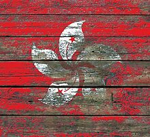 Flag of Hong Kong on Rough Wood Boards Effect by Jeff Bartels