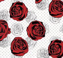 Floral Pattern. Rose Red Background by LourdelKaLou