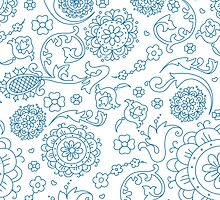 Abstract floral pattern. Cute hand drawn design elements by LourdelKaLou