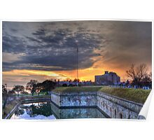 Sunset View of Moat at Fort Monroe Poster