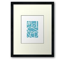 Blessed, happy, #blessed, fun blue print Framed Print