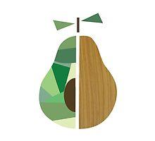 Pear, geometric pear, pear art, fruit print by happyyakk