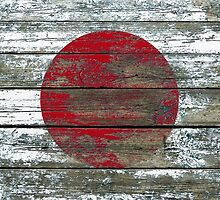 Flag of Japan on Rough Wood Boards Effect by Jeff Bartels