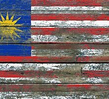 Flag of Malaysia on Rough Wood Boards Effect by Jeff Bartels