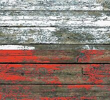 Flag of Poland on Rough Wood Boards Effect by Jeff Bartels