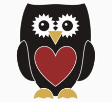 Black Owl with Red Heart T-Shirt