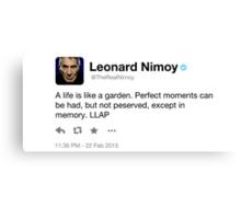 Leonard Nimoy Tweet Canvas Print