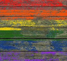 Gay Pride Rainbow Flag on Rough Wood Boards Effect by Jeff Bartels