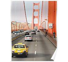 Driving over Golden Gate Bridge Poster