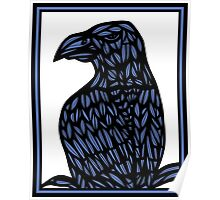 Yaw Eagle Hawk Blue Black Poster