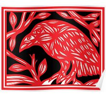 Tollefson Magpie Red White Black Poster