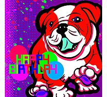 Happy Bulldog Puppy Red and White  Photographic Print