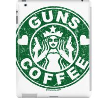 I Love Guns and Coffee! Not the Starbucks logo, but close. iPad Case/Skin