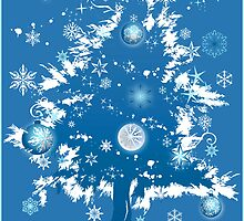 """Silent Night"" Christmas Card - Blue Decorative Christmas Tree by ruxique"