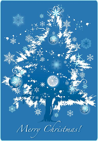 """""""Silent Night"""" Christmas Card - Blue Decorative Christmas Tree by ruxique"""