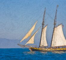 Impasto sytlized photo of the Tall Ship Spirit of Dana Point off Dana Point Harbor. by NaturaLight