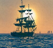 Impasto stylized photo of the Tall Ship Pilgrim sailing  off Dana Point, CA US. by NaturaLight
