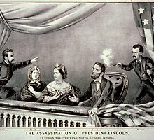 Lithograph of the Assassination of Abraham Lincoln 1865 by Adam Asar