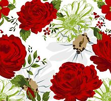 Beautiful red roses pattern on a white background. by LourdelKaLou