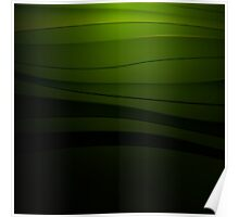 Green abstract background with curved lines Poster