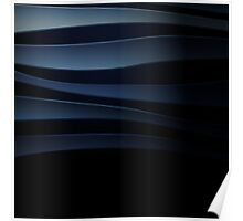 Blue abstract background with curved lines Poster