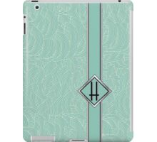 1920s Blue Deco Swing with Monogram letter H iPad Case/Skin