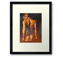 Beautiful Young Woman Wearing Plaits and Panties (Neutral) Framed Print